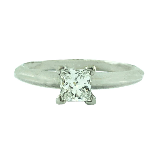 """IGI CERTIFIED SOLITAIRE DIAMOND ENGAGEMENT RING-14K WHITE GOLD