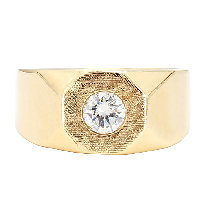 """MENS SOLITAIRE DIAMOND RING-14K YELLOW GOLD