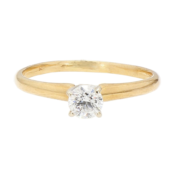 SOLITAIRE DIAMOND ENGAGEMENT RING- 14K YELLOW GOLD| 2.2G| 0.47CT TDW| SIZE 8.75""