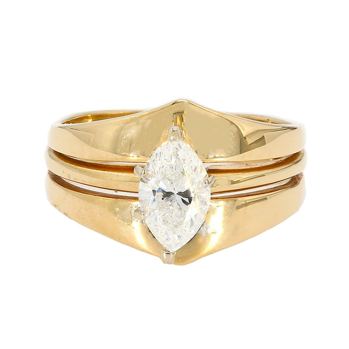"""1.00CT MARQUISE DIAMOND ENGAGEMENT RING- 14K YELLOW GOLD