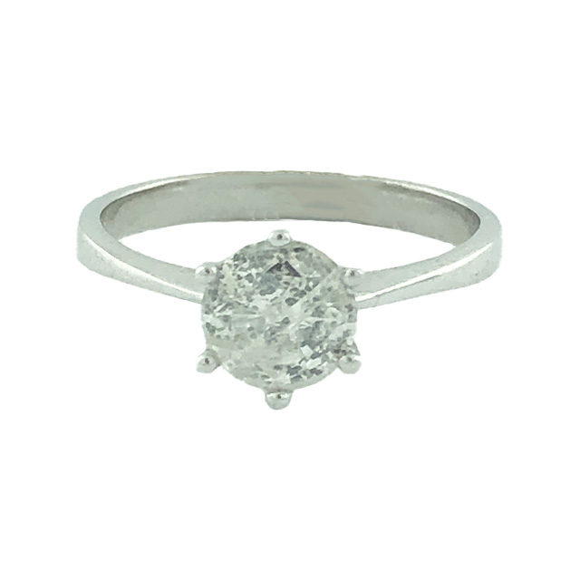 SOLITAIRE DIAMOND ENGAGEMENT RING- 14K WHITE GOLD| 2.2G| 1.07CT TDW| SIZE 7""