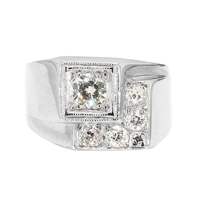 """DIAMOND RING- 14K WHITE GOLD  8.9G  1.00CT TDW  SIZE 8.25"""""""