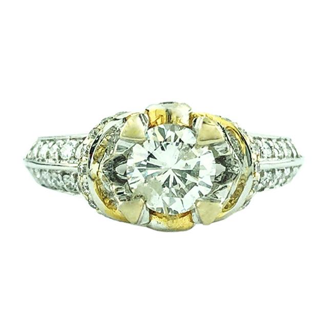 """IGI CERTIFIED DIAMOND ENGAGEMENT RING- 18K WHITE GOLD 0.94CT(C)  1.42CT TDW  SIZE 7"""""""