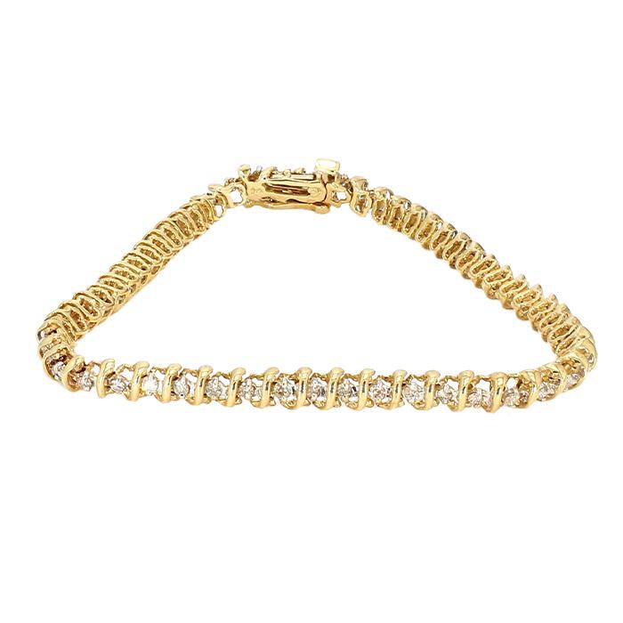 "DIAMOND BRACELET- 10K YELLOW GOLD   1.00CT TDW  8.4G  LENGTH 7"""