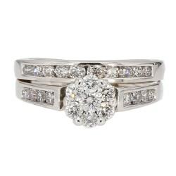 "BRIDAL DIAMOND SET-14K WHITE GOLD| 6.9G| 0.75CT TDW| SIZE 6"""
