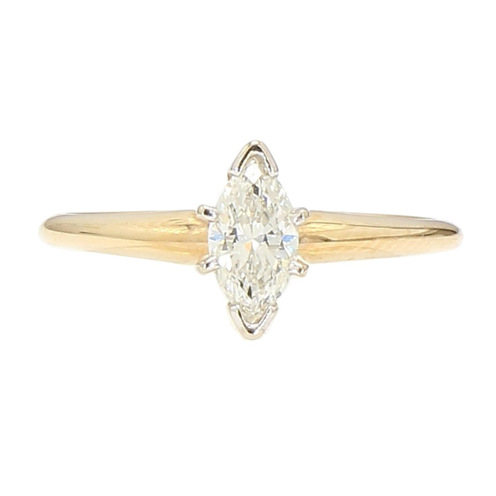 """SOLITAIRE DIAMOND ENGAGEMENT RING- 14K YELLOW GOLD