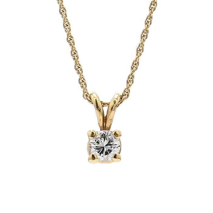 """SOLITAIRE DIAMOND NECKLACE- 14K YELLOW GOLD