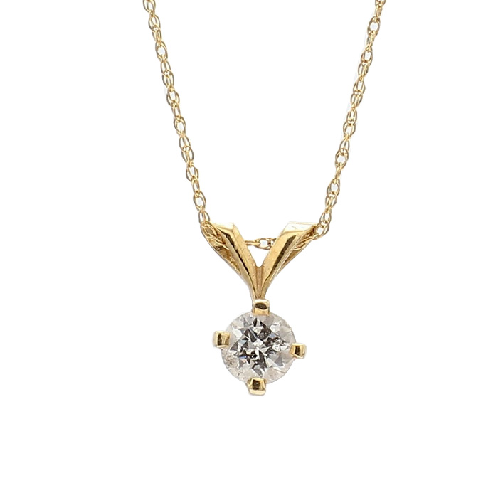 """SOLITAIRE DIAMOND NECKLACE- 10K YELLOW GOLD  1.1G  0.35CT TDW  LENGTH18"""""""