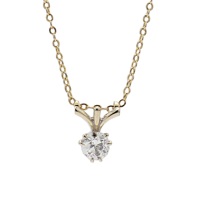 SOLITAIRE DIAMOND NECKLACE- 14K YELLOW GOLD| 2.8G| 0.45CT TDW| LENGTH 20""