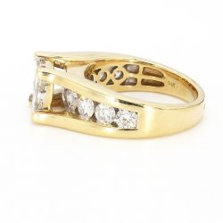 14K YELLOW GOLD ENGAGEMENT RING| 2.00CT TDW| 9.4G| SIZE 7.25""