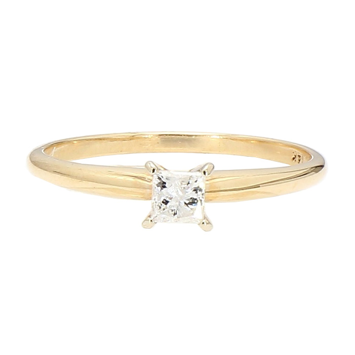 SOLITAIRE DIAMOND ENGAGEMENT RING- 14K YELLOW GOLD| 0.25CT TD PRINCESS CUT| SIZE 8.25""