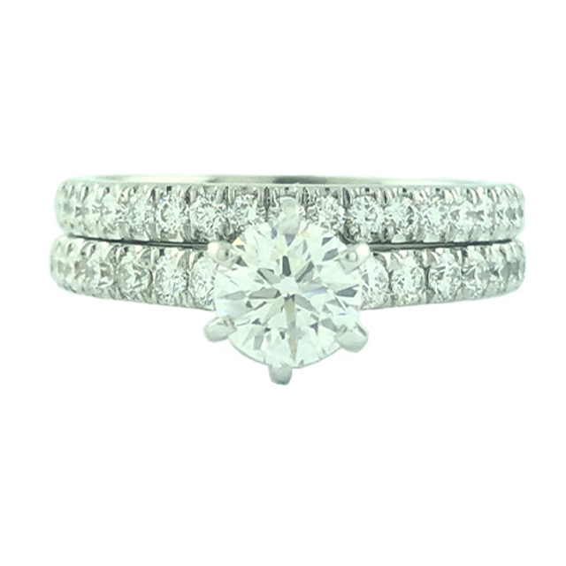 AGS CERTIFIED DIAMOND BRIDAL SET- 14K WHITE GOLD| 0.60CT CENTER| 1.50CT TDW| SIZE 6""