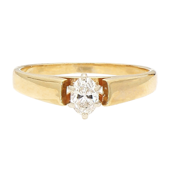 """SOLITAIRE DIAMOND ENGAGEMENT RING- 14K YELLOW GOLD  0.37CT TD MARQUISE CUT  SIZE 8"""""""