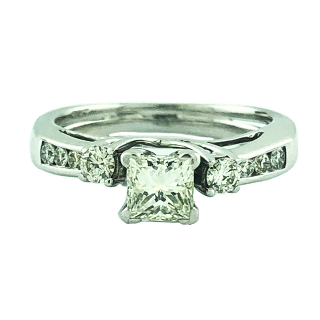 EGL CERTIFIED SOLITAIRE DIAMOND ENGAGEMENT RING- 14K WHITE GOLD| 0.50CT CENTER| 1.00CT TDW| SIZE 5.75""