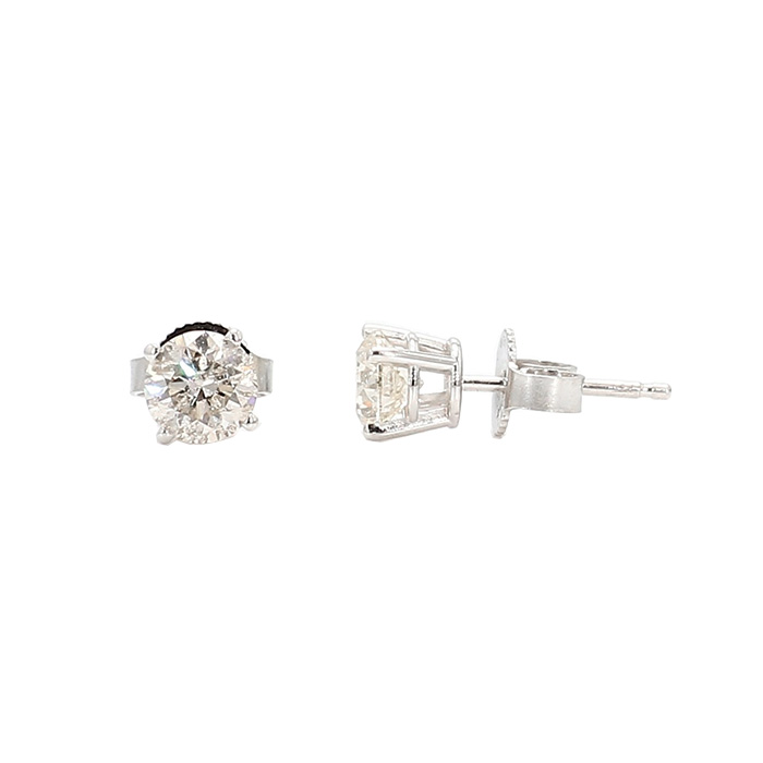DIAMOND EARRING STUDS- 14K WHITE GOLD| 1.1G| 1.00CT TDW