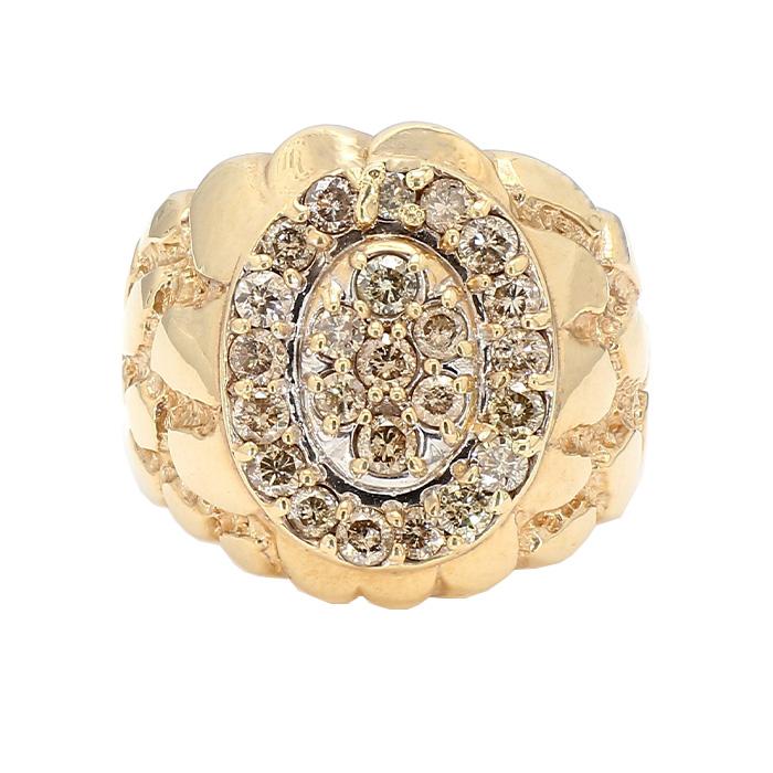 "MENS DIAMOND RING- 10K YELLOW GOLD RING| 14.6G| SIZE13"""
