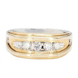 "DIAMOND WEDDING BAND-14K GOLD- 2 TONE(WHITE AND YELLOW)  8.6G  SIZE 11.25"""