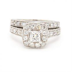 "DIAMOND BRIDAL SET-14K WHITE GOLD  6.5 GRAMS WEIGHT  1.50CT TDW  SIZE 4.75"""