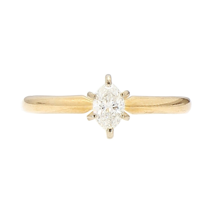 SOLITAIRE DIAMOND ENGAGEMENT RING- 14K YELLOW GOLD| 0.30CT MARQUISE CUT| SIZE 6.75""