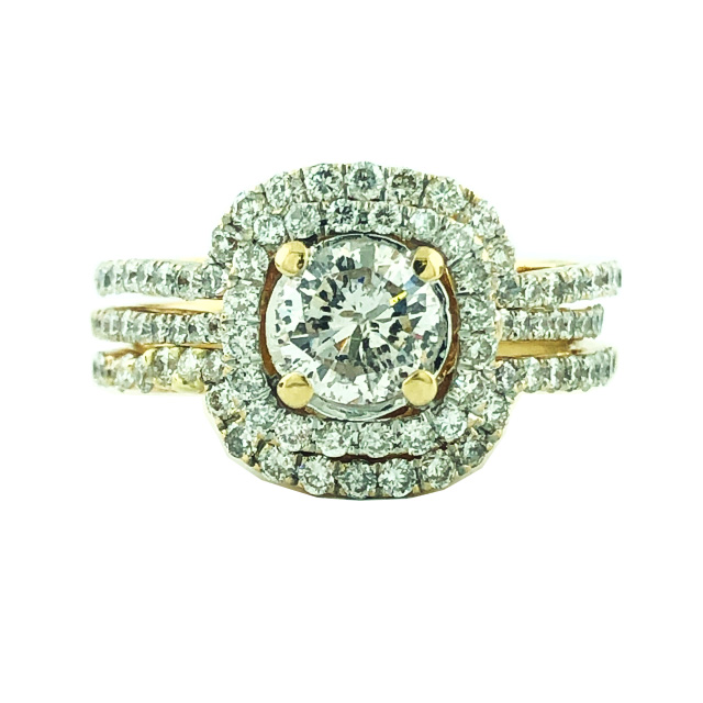 DIAMOND BRIDAL SET- 14K YELLOW GOLD | 4.6G| 0.75CT(C)| 2.00CT TDW| SIZE 4.50""