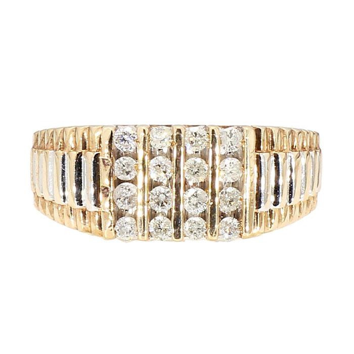 "MENS DIAMOND RING- 14K YELLOW GOLD  6.0G  SIZE 9"""