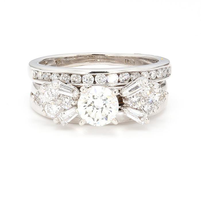 "IGI CERTIFIED DIAMOND BRIDAL SET- 14 K WHITE GOLD| 0.70CT CENTER| 1.50CT TDW| SIZE 6"""