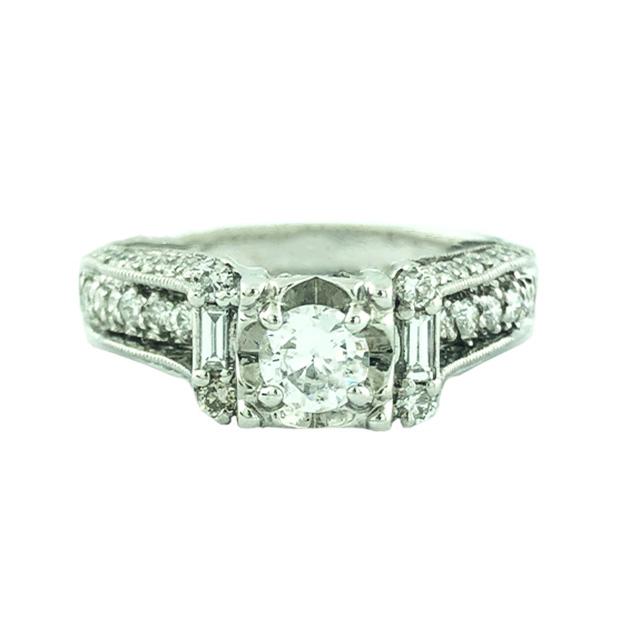 "DIAMOND ENGAGEMENT RING-14K WHITE GOLD| 0.30CT CENTER| 1.50 CT TDW| SIZE 9.50"""