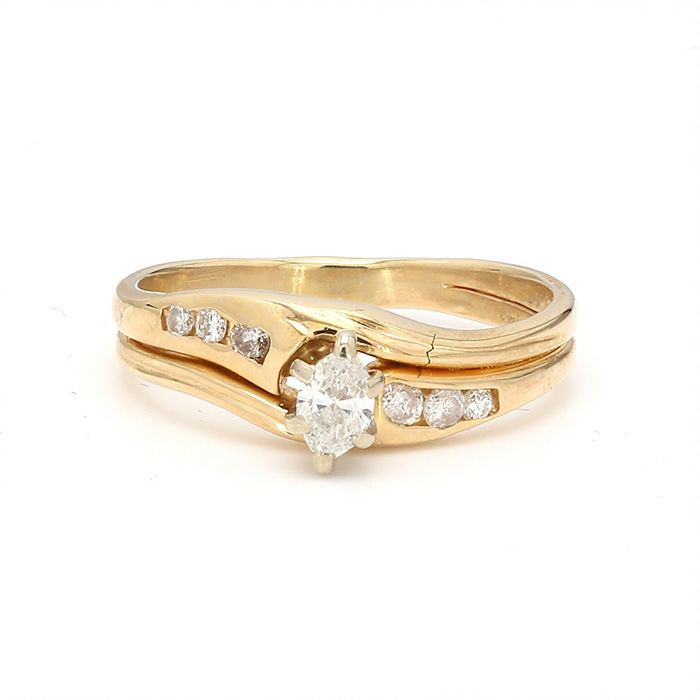 14K YELLOW GOLD ENGAGEMENT RING| 2.4G| SIZE 4""