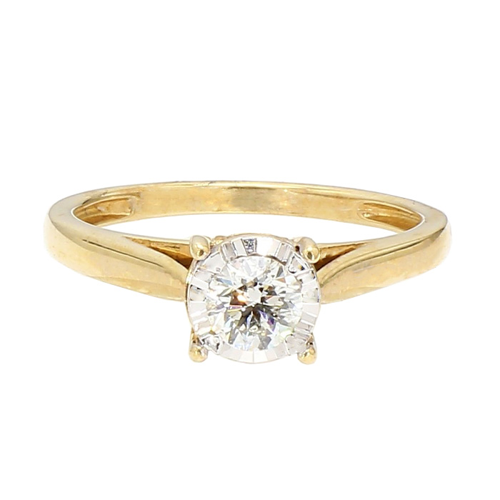SOLITAIRE ENGAGEMENT RING- 14K YELLOW GOLD| 0.40CT TDW ROUND CUT| SIZE 7""