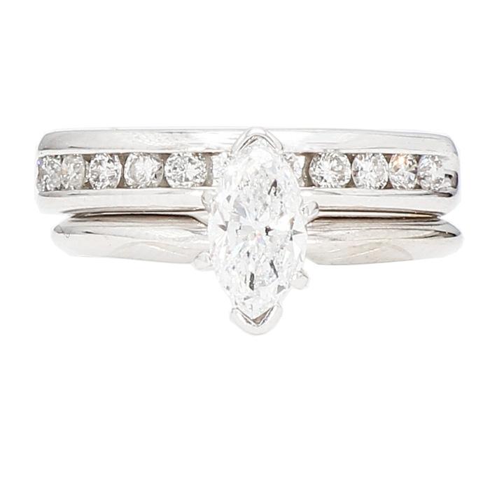 "DIAMOND BRIDAL SET- 14K WHITE GOLD| 0.70CT(C)| 1.00CT TDW| SIZE 6"""