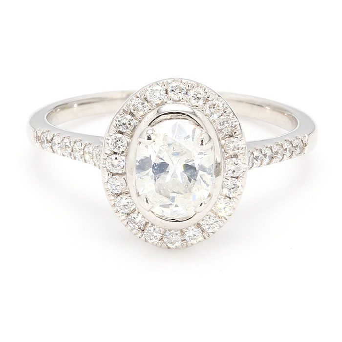 "EGL CERTIFIED DIAMOND ENGAGEMENT RING- 10K WHITE GOLD| 0.71CT(C)| 1.20CT TDW| SIZE 7"""