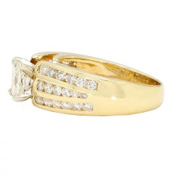 """SOLITAIRE DIAMOND ENGAGEMENT RING- 14K YELLOW GOLD  7.0G  1.00CT(C)  2.00CT TDW  SIZE 7.50"""""""