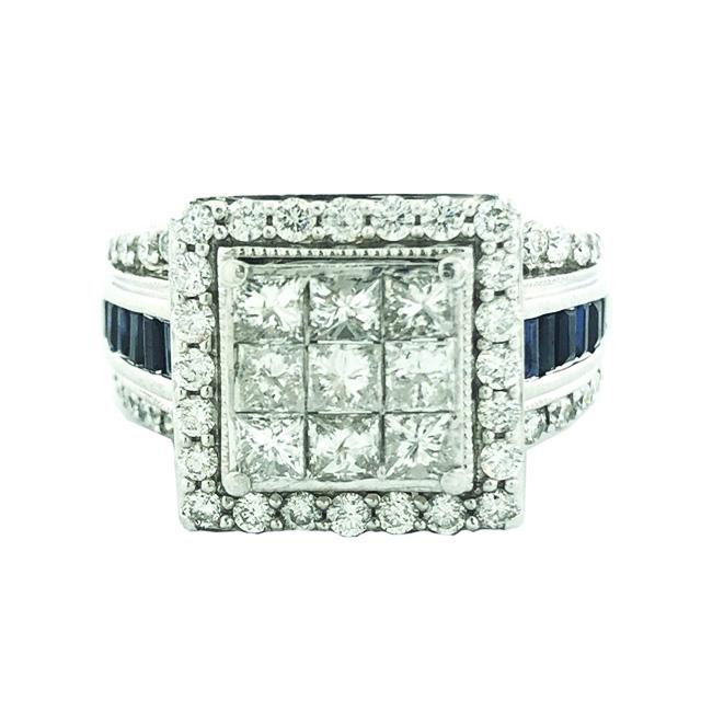 "IGI CERTIFIED DIAMOND ENGAGEMENT RING-14K WHITE GOLD| 1.65CT TDW(approx)| SIZE 7"""