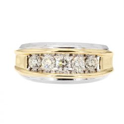 "DIAMOND WEDDING BAND-10K GOLD(2-TONE)| 7.8G| 1.00CT TDW| SIZE 11.50"""