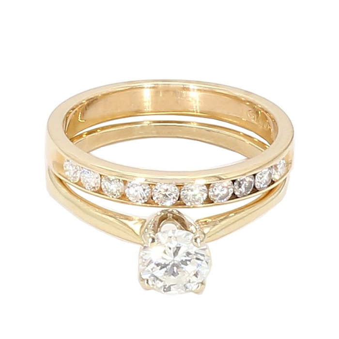 SOLITAIRE DIAMOND BRIDAL SET-14K YELLOW GOLD | 0.75CT(C)| 1.25CT TDW| 5.8G| SIZE 8.50""