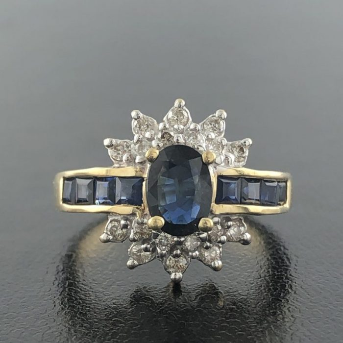 "BLUE SAPPHIRE, DIAMOND RING/14K/4.5G/7"" - 14K YELLOW GOLD"