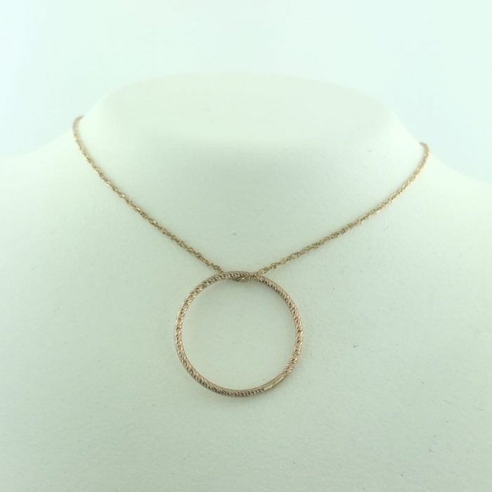 """14K ROSEGOLD NECKLACE WITH CIRCLE PENDANT/1G/19"""""""