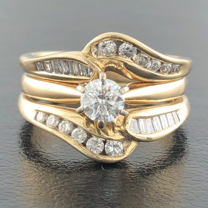 14K YELLOW GOLD BRIDAL SET/6.1G/5.25""
