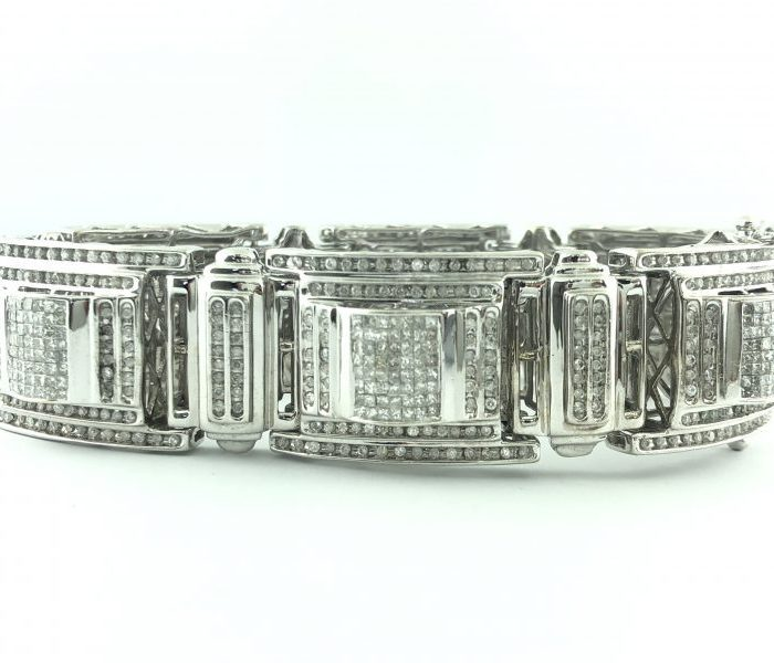 14K WHITE GOLD DIAMOND BRACELET/113.1G/12CT TDW/SIZE 9""