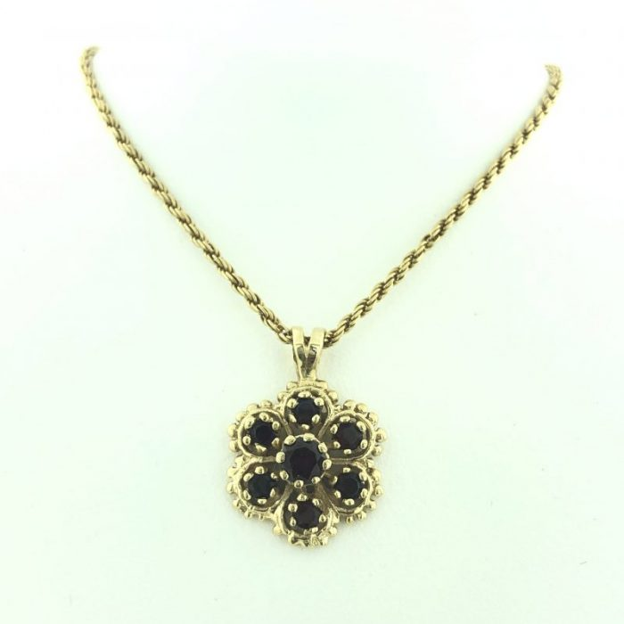 """14K YELLOW GOLD NECKLACE WITH RUBY PENDANT/7.2G/SIZE 18"""""""