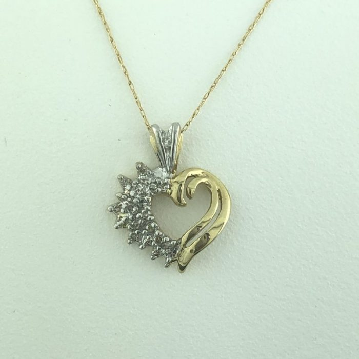 10K YELLOW GOLD NECKLACE WITH HEART PENDANT/1.8G/19""