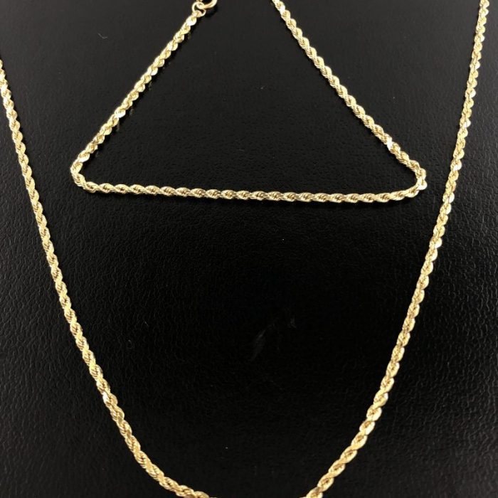 "14K YELLOW GOLD ROPE NECKLACE AND BRACELET/3.3G/SIZES:18""AND 7"""
