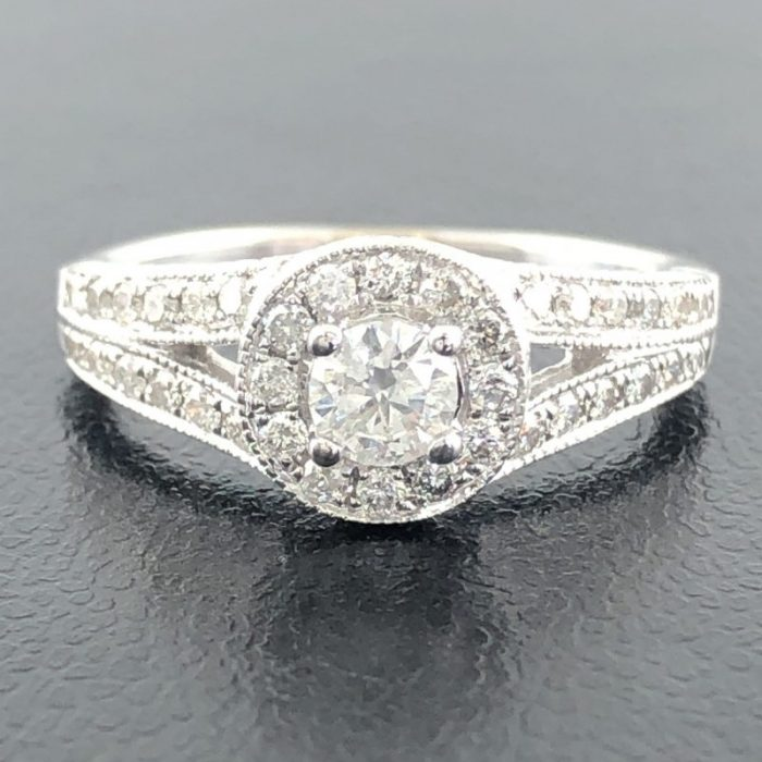 14K WHITE GOLD ENGAGEMENT RING/3.9G/SIZE 6""