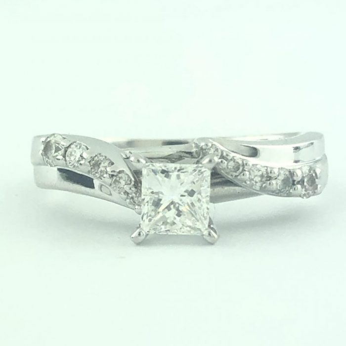 GSI CERTIFIED DIAMOND BRIDAL SET- 14K WHITE GOLD| 0.71CT(C)| 1.00CT TDW| SIZE 7.75""
