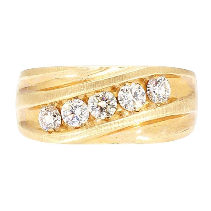 "DIAMOND WEDDING BAND- 14K YELLOW GOLD| 10.3G| 1.00CT TDW| SIZE 10.50"""