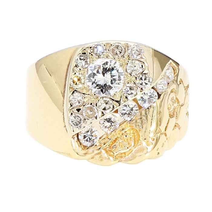 "DIAMOND RING- 14K YELLOW GOLD| 7.4G| 0.50CT(C)| 1.00CT TDW| SIZE 7.75"""