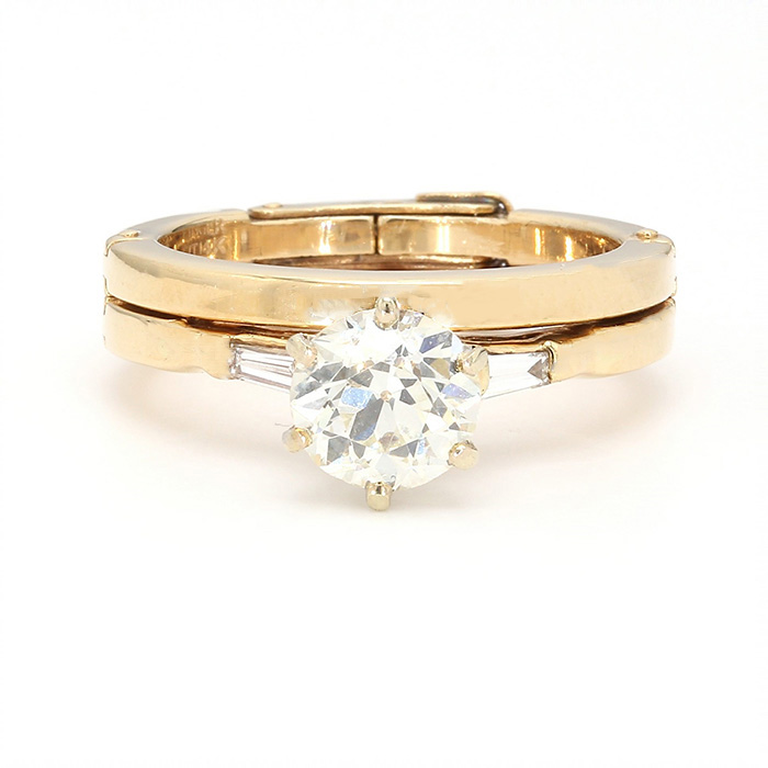 14K YELLLOW GOLD BRIDAL SET| 5.6G| 1.00CT CENTER DIA| SIZE 5""