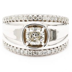 GSI CERTIFIED SOLITAIRE DIAMOND ENGAGEMENT RING- 14K WHITE GOLD| 1.52CT CENTER|COLOR:I| CLARITY:SI1| SIZE 10.50""