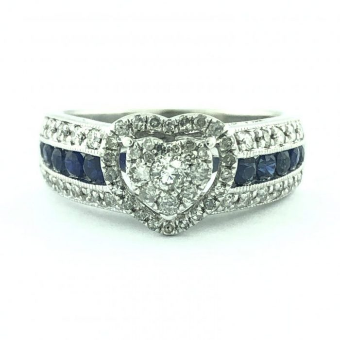 PLATINAIRE ENGAGEMENT RING/DIAMOND AND SAPPHIRE/4.5G/7""