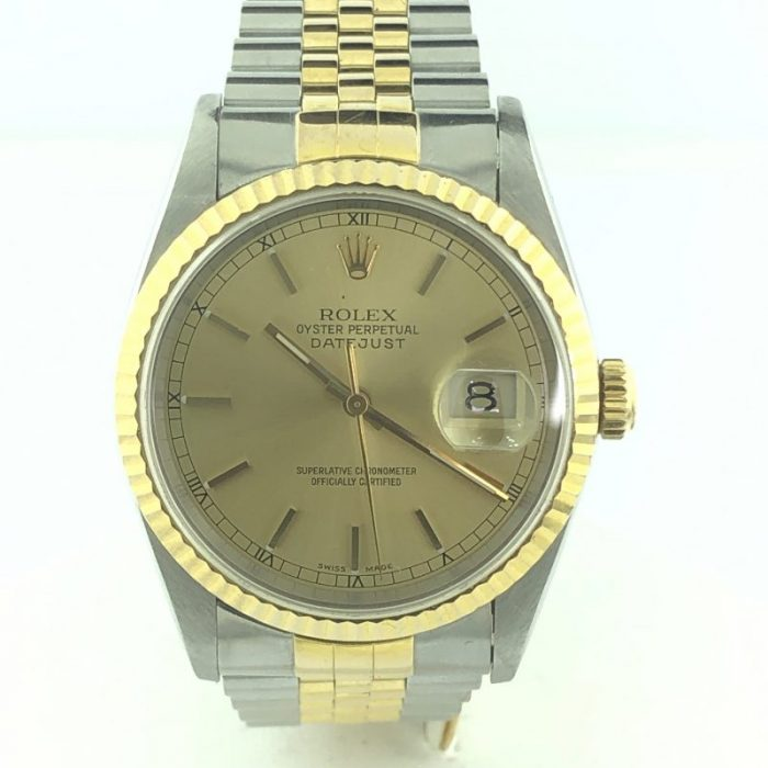 Rolex Oyester Date Just Champagne Dial 18K Gold / SS Jubilee